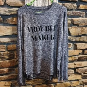 Cotton grey trouble maker long sleeve top